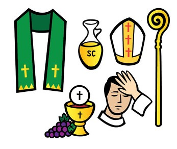 Clip aret of the symbols of Priestly Holy Orders: Stole, Oil, chalice and Patten